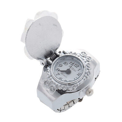 Practical Superior White Clover Round Dial Finger Ring Quartz Watch For Lady ED