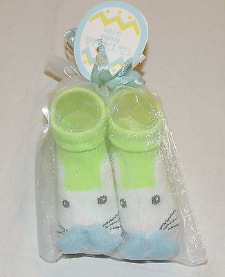NEW Unisex Baby Bunny Mustache Socks Green Size 0-12 Months, Easter, Booties