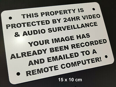 ENGRAVED SECURITY WARNING SIGN- AUDIO VIDEO SURVEILLANCE REMOTE COMPUTER w/holes