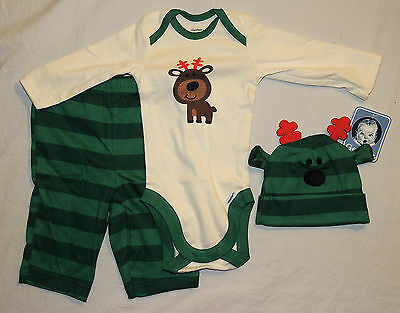 NEW Unisex Gerber Baby Outfit Reindeer Size 0-3 M Bodysuit, Pants, Hat Christmas