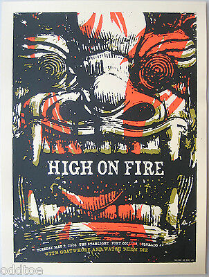 HIGH ON FIRE- Original 2006 Concert Poster S/N AMY JO, demon face sculpture
