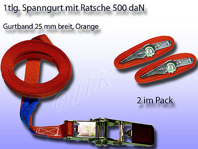2er Pack 1tlg. Spanngurt, Zurrgurt mit Ratsche Orange 25 mm 500 daN L= 2 m