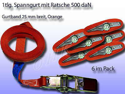 6er Pack 1tlg. Spanngurt, Zurrgurt mit Ratsche Orange 25 mm 500 daN L= 2 m
