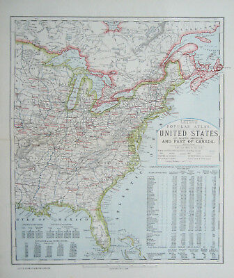 United States Eastern America Map Antique Letts 1883
