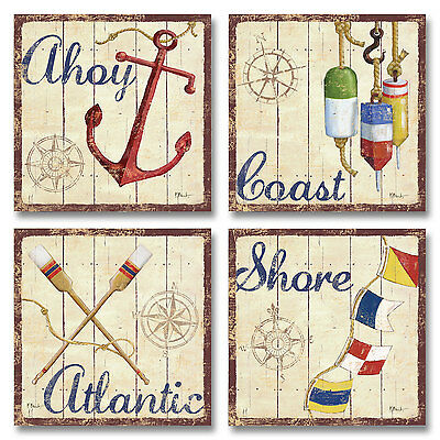 NEW Set of 4 Bridgeport Vintage Rustic Nautical Coastal Art Poster Prints 12x12""