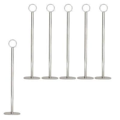 6x Table Number Stand, Ring Clip, 40mm Base, 380mm, Menu / Card Holder