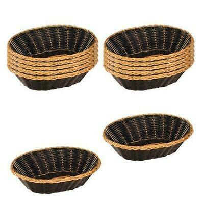 12x Bread Basket 240mm Oval, Dishwasher Safe, Black Plastic with Gold Trim