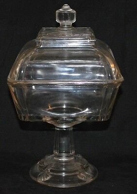 Vintage/Antique Large Square Pressed Glass Covered Compote with round base.