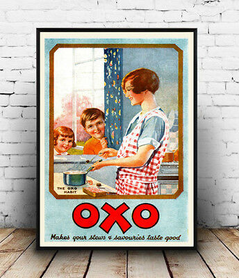 Vintage advert wall art poster reproduction. Oxo Stock cubes