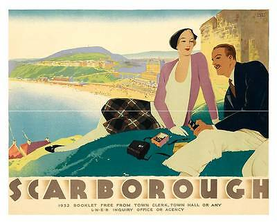 Scarborough , Vintage travel advert, Wall art poster reproduction.