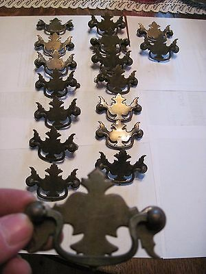 Set Of 17 Chippendale Federal  Brass  Drawer Pulls , Hardware , Dresser , Chest