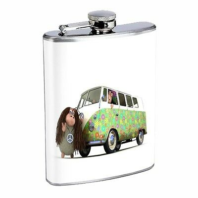 Sheep Flask D4 8oz Stainless Hippies Volkswagon VW Bus Traveling Funny