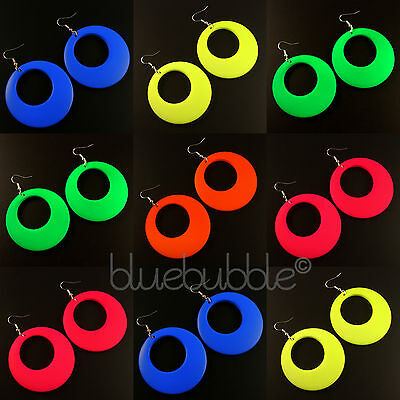 FUNKY LARGE ROUND HOOP DROP EARRINGS KITSCH DISCO RAVE 60s 70s 80s 90s STYLE FUN