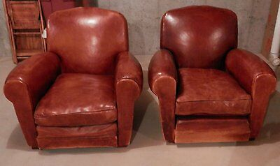 Pair of 1930s French Deco Armchairs - Brown Leather - Gorgeous Patina