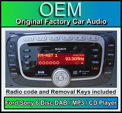 ford sony dab cd mp3 player focus mondeo kuga transit. Black Bedroom Furniture Sets. Home Design Ideas