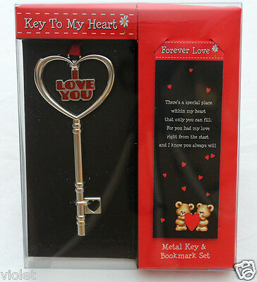 Forever Love bookmark and key to my heart gift set NEW perfect romantic present
