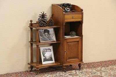 English Antique Oak 1910 Bathroom, Hall or Telephone Stand