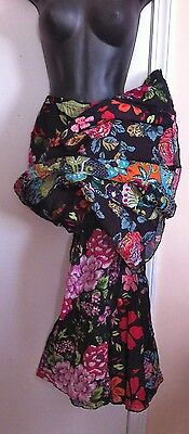 vtg 80s eci Floral Boho India Gauze Cropped Palazzo Pants Lagenlook XL