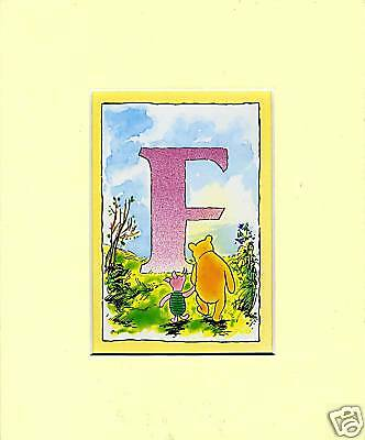 Winnie the Pooh : Alphabet Mounted Print  F 'FRIENDS' Free Postage