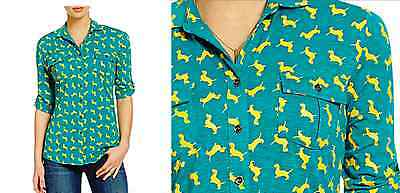 FREE SHIPPING!  Size Small Dachshund Doxie Dog Women's Button-Up Shirt NWT
