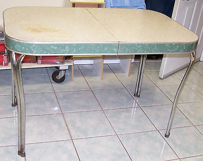 Vintage FORMICA U0026 CHROME TABLE 1952 Cracked Ice W/staining