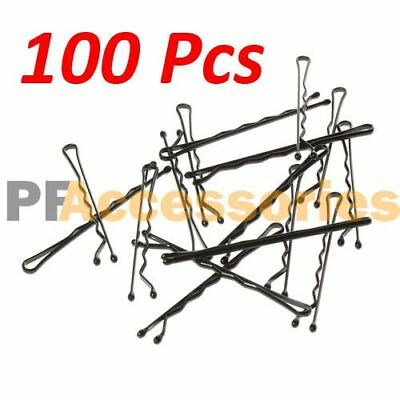 "100 Pcs Regural 2"" inch Bobby Pins Hair Grips Clips Classic Style Black LOT 100"