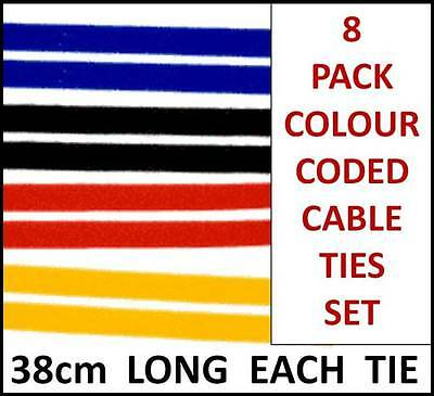 8 PACK Cable Ties Velcro Straps Color Coded PC TV Power Line 2.5cm x 38cm - T119