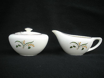 Knowles Pottery Sugar and Cream Pitcher Creamer Freesia Spring Bloom Spray Gold