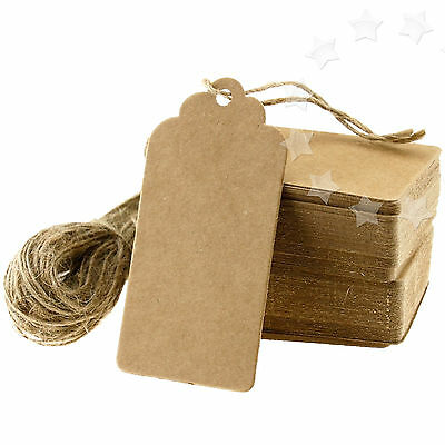 100 Brown Kraft Paper Tags Wedding Luggage Label Gift Scallop Card 9x4 +Strings
