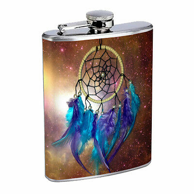 Dreamcatcher Flask D6 8oz Stainless Steel Native American Culture Willow Snare