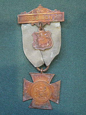 Vintage Original WRC Womans Relief Corps 1883 President Badge Medal Ribbon
