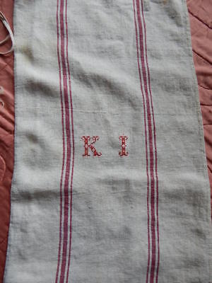 Antique 19thC RED Ticking Homespun Linen Pillowcase w Red Monogram Initials KI