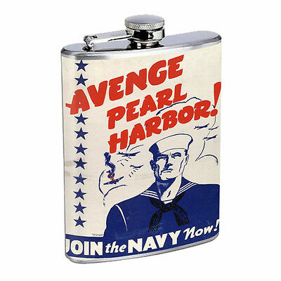 Vintage Propaganda Ad Hip Flask D14 8oz Stainless Steel Political Advertistment