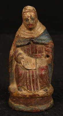 ANTIQUE SOUTHWEST MISSION OLD MEXICAN HAND CARVED WOODEN FOLK ART STATUE MEXICO