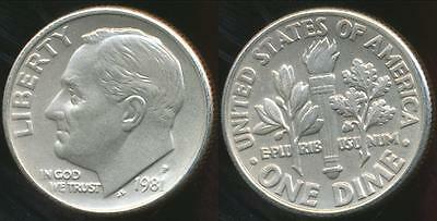 United States, 1981-P Dime, Roosevelt - Choice Uncirculated