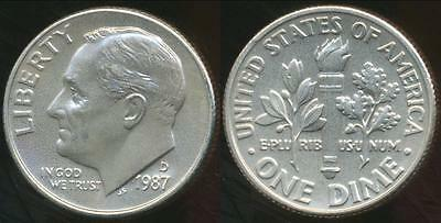 United States, 1987-D Dime, Roosevelt - Choice Uncirculated