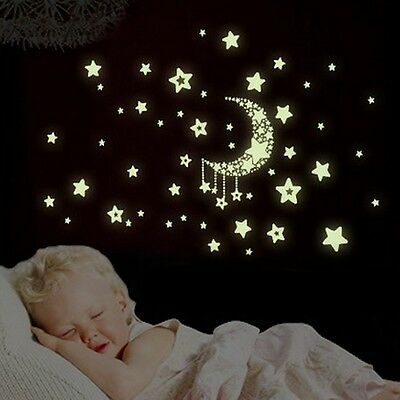 Glow Star Moon Wall Stickers Removable Nursery Decor Mural Baby Room Home Decal