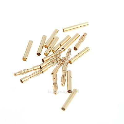 10 Pairs 2.0mm Gold-plated Bullet Male + Female Connector Banana Plug RC Battery