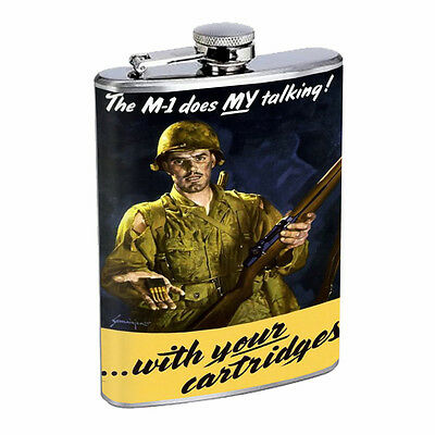 Vintage Propaganda Ad Hip Flask D18 8oz Stainless Steel Political Advertistment