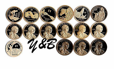 2000 - 2014 + 2015 S Native American Sacagawea Proof Dollar 16 Coin Complete Set