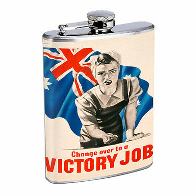 Vintage Propaganda Ad Hip Flask D21 8oz Stainless Steel Political Advertistment