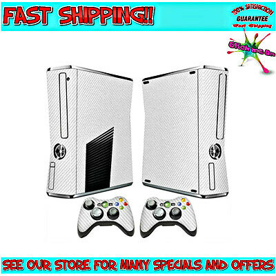 WHITE CARBON | Full Body Sticker Skin Kit for Xbox 360 Slim Console 2 remotes