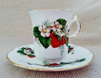 Hammersley Strawberry Ripe Demitasse Cup & Saucer~Red, White, Green