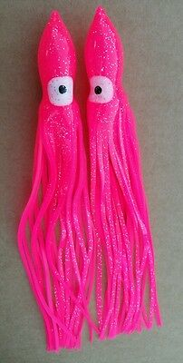 """10pack 25cm or 10"""" QUALITY PINK SQUID OCTOPUS TROLLING SKIRTS LURES Game lures"""