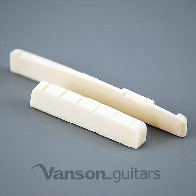 NEW Vanson 43mm LEFT HANDED Bone Nut & Int Saddle for Acoustic Guitars, SQInt LH