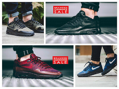 reputable site 67152 544ed New Men Nike Air Max 1 Ultra Flyknit Triple Black Maroon blue Size 7 uk