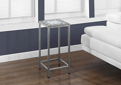 Monarch GREY / BLUE TILE TOP / HAMMERED SILVER 28 inchH PLANT STAND I 3145 NEW