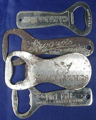 Lot of 4 Vintage 1930's Beer Openers Frank Brothers Fort Pitt Iroquois Canada Dr