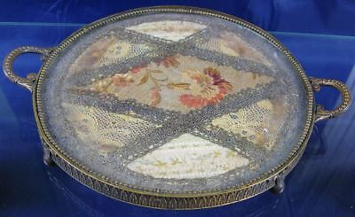Antique 19th Century Fancy Brass & Glass With Lenin Lace Insert Tray France