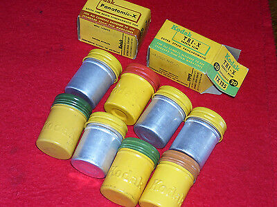 10 LOT OF VINTAGE KODAK METAL 35mm FILM CANISTERS YELLOW W LIDS unexposed film